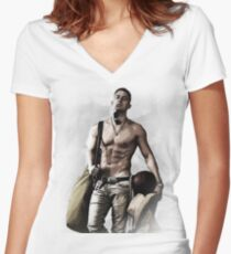 Hot Topless Channing Tatum Women's Fitted V-Neck T-Shirt