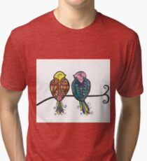 Two Colourful Birds Tri-blend T-Shirt