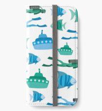 Blue Green Aquatic Print iPhone Wallet/Case/Skin
