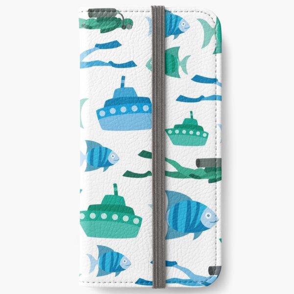 Blue Green Aquatic Print iPhone Wallet