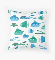 Blue Green Aquatic Print Throw Pillow