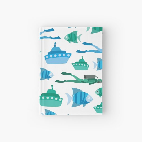 Blue Green Aquatic Print Hardcover Journal
