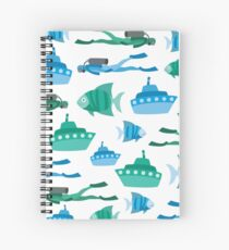Blue Green Aquatic Print Spiral Notebook