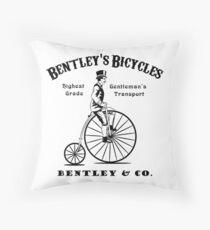 Vintage Penny Farthing Print Throw Pillow