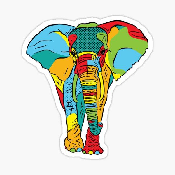 Pop Style Elephant Print Sticker