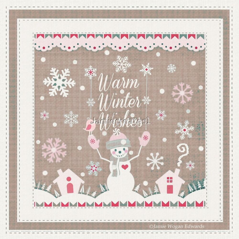 Warm Winter Wishes Snowman Art by Jamie Wogan Edwards