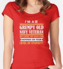 I'm A Grumpy Old Navy Veteran My Level Of Sarcasm Depends On Women's Fitted Scoop T-Shirt