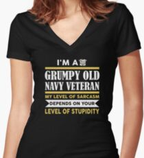 I'm A Grumpy Old Navy Veteran My Level Of Sarcasm Depends On Women's Fitted V-Neck T-Shirt
