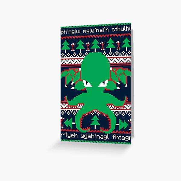 Cthulhu Cultist Christmas - Cthulhu Ugly Christmas Sweater Tarjetas de felicitación