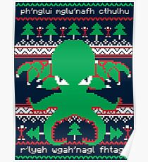 Cthulhu Cultist Christmas - Cthulhu Ugly Christmas Sweater Poster