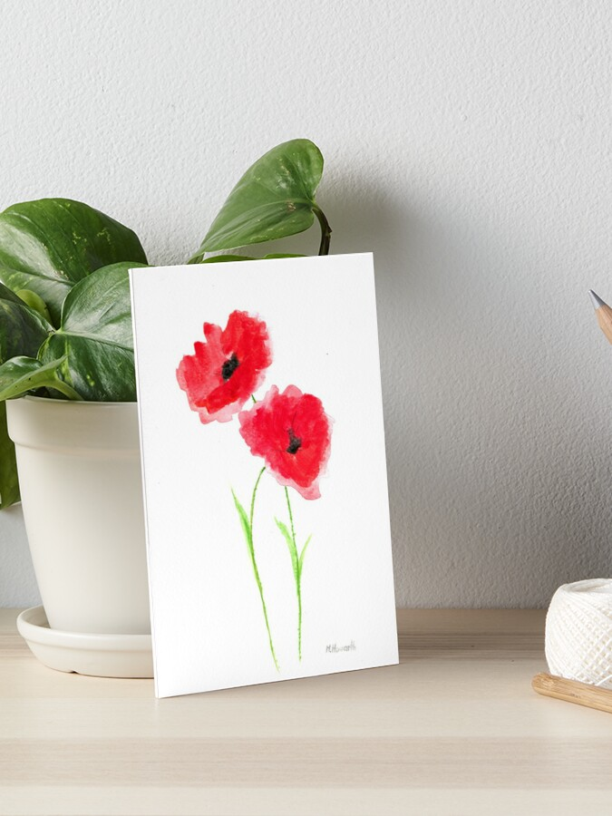 Red Poppies Flowers Watercolour Art Board Print By Cameronka1