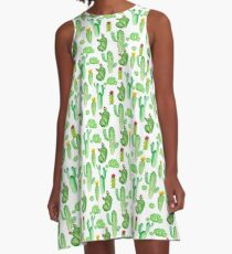 watercolor greenery cactus A-Line Dress