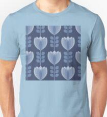 Geometric flower blue pattern. T-Shirt
