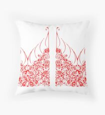 Red and Rosy Bushes Throw Pillow