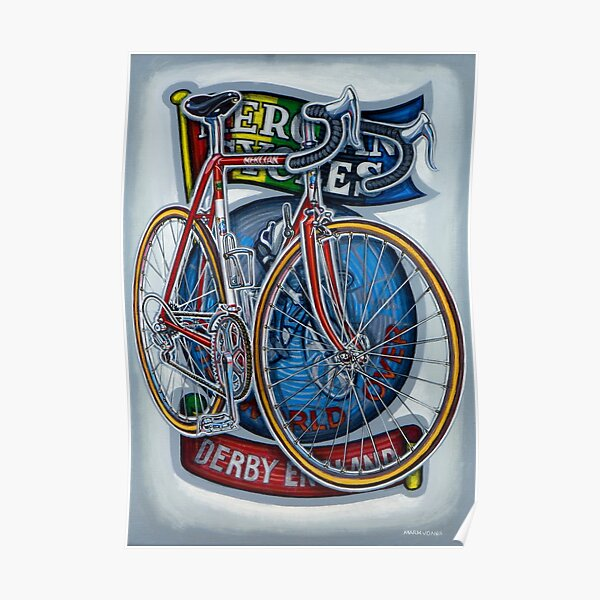 Mercian Flam Red Road Bicycle Poster