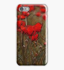 Red and green, flower art iPhone Case/Skin