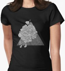 Peony Flowers, Black and White T-Shirt