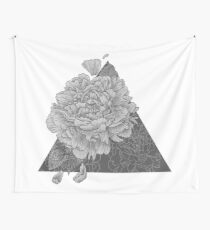 Peony Flowers, Black and White Wall Tapestry