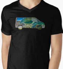 Vanlife (camion de vagues) - contour blanc T-shirt col V homme