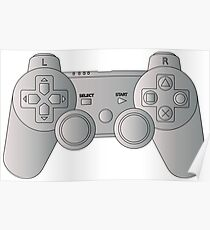 Video Game Inspired Console Playstation Dualshock Gamepad Poster