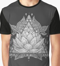 Grey Lotus Flower Geometric Design Graphic T-Shirt
