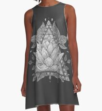 Grey Lotus Flower Geometric Design A-Line Dress