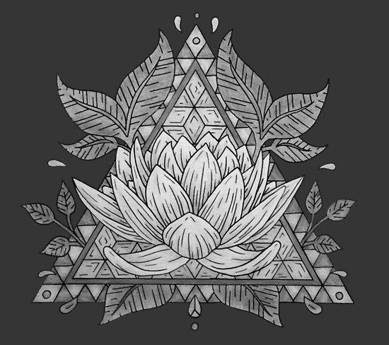 Grauer Lotus Flower Geometric Design von bblane