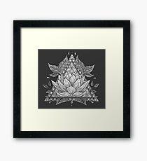 Grey Lotus Flower Geometric Design Framed Print