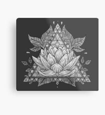 Grey Lotus Flower Geometric Design Metal Print
