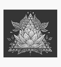 Grey Lotus Flower Geometric Design Photographic Print