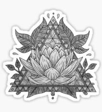 Grey Lotus Flower Geometric Design Sticker