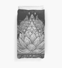 Grey Lotus Flower Geometric Design Duvet Cover