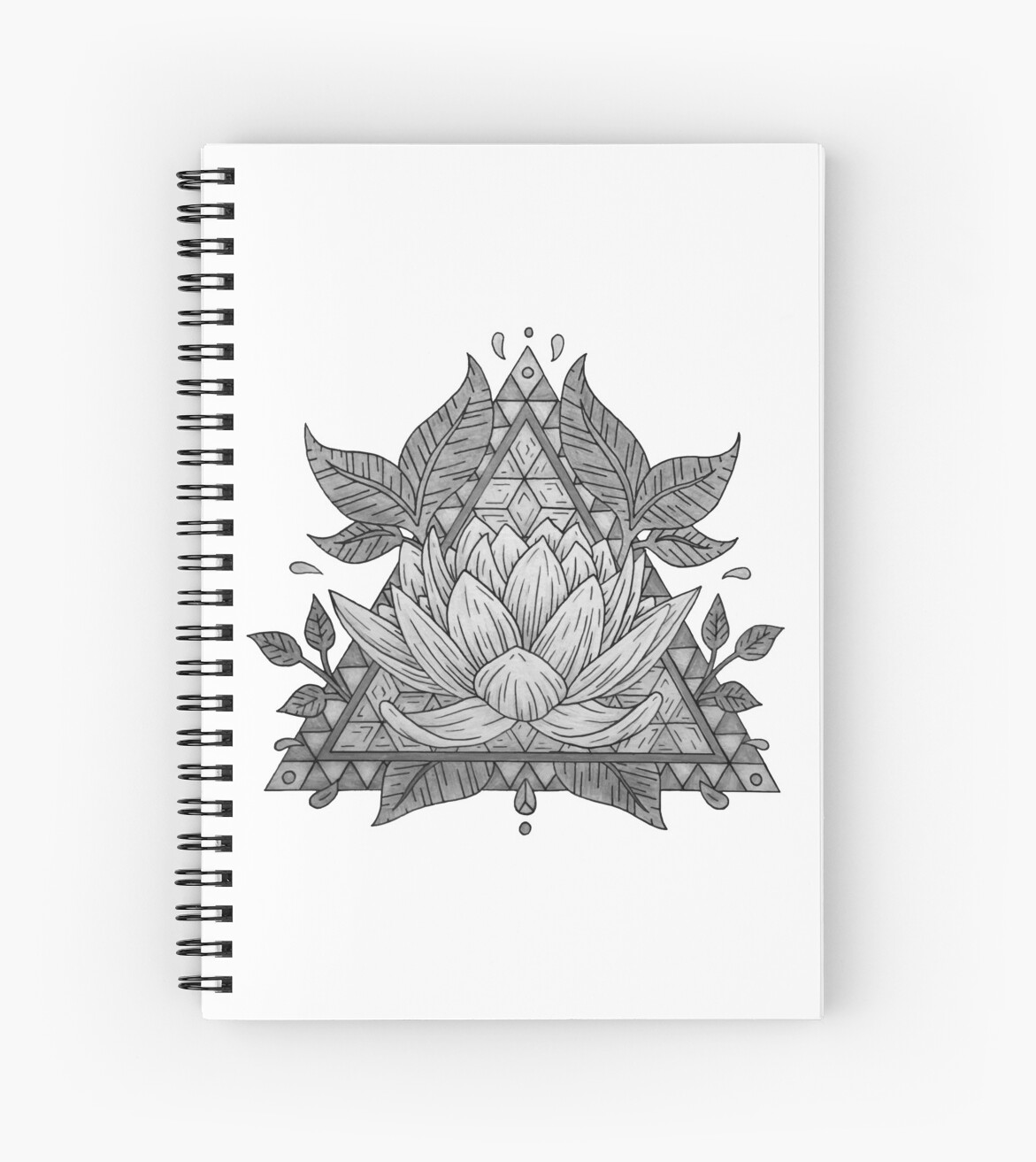 Grey Lotus Flower Geometric Design Spiral Notebooks By Bblane