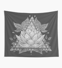Grey Lotus Flower Geometric Design Wall Tapestry