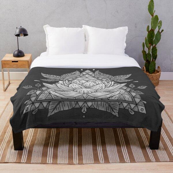 Grey Lotus Flower Geometric Design Throw Blanket