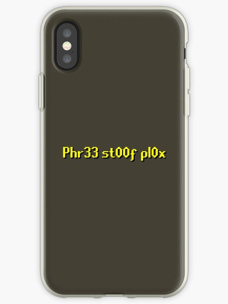 'RuneScape Free Stuff Plox' iPhone Case by Scammell Design