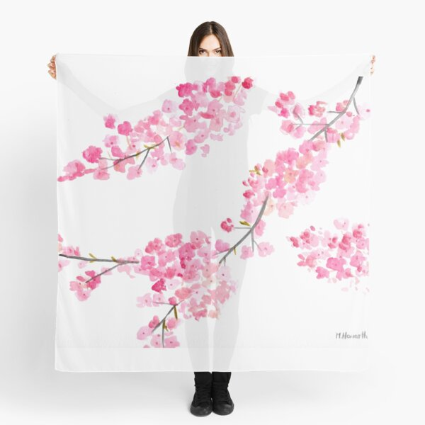 Cherry blossoms watercolour painting Scarf