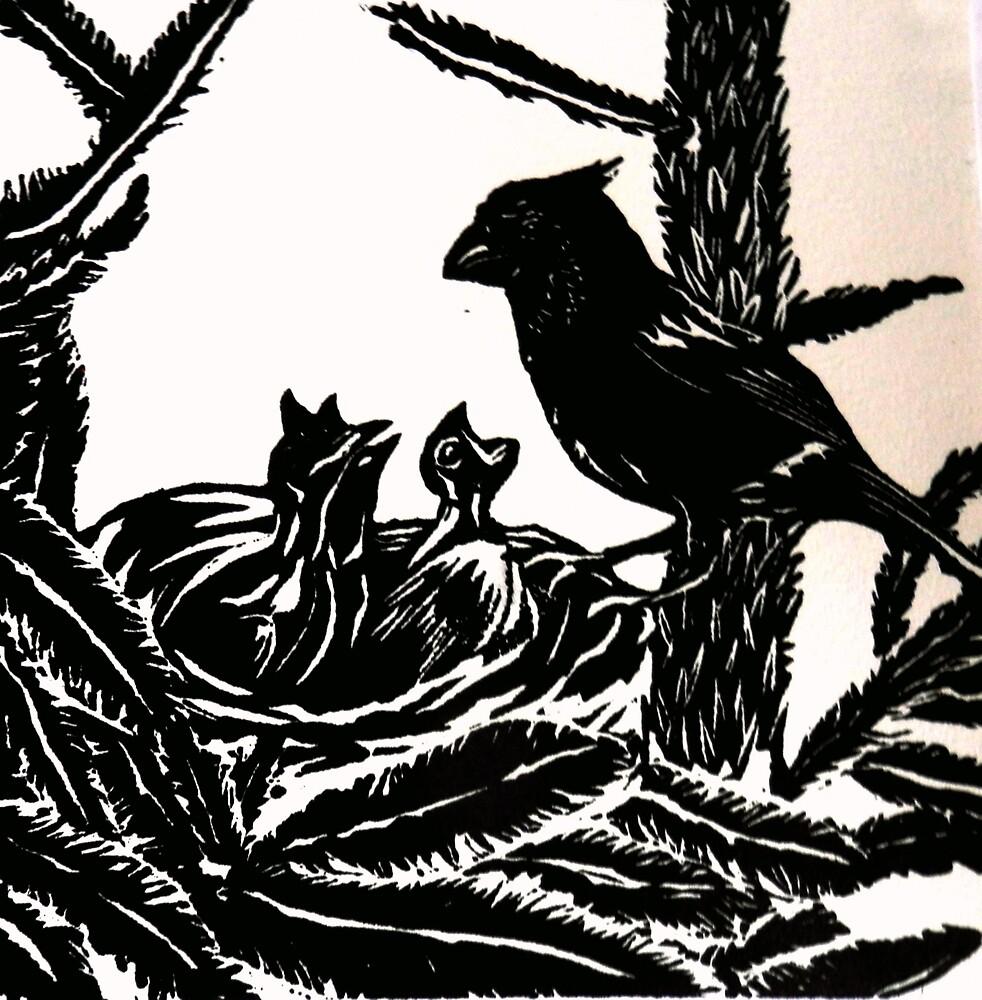 Mummy Bird Feeding Baby Birds  by Sarah Jeffrey