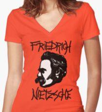 Friedrich Nietzsche ink Women's Fitted V-Neck T-Shirt