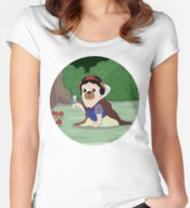 Pug White Women's Fitted Scoop T-Shirt