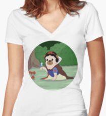 Pug White Women's Fitted V-Neck T-Shirt