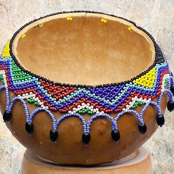 Vintage Southwest Gourd Pot with Beads by doorfrontphotos