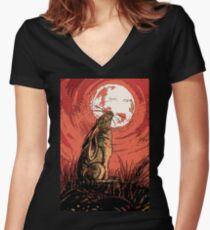 Moon Gazer Hare, Artwork Women's Fitted V-Neck T-Shirt