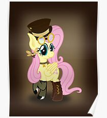 Steampunk Fluttershy (with background) Poster