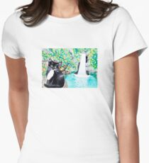 Tuxedo Fairy Cat with Waterfall Womens Fitted T-Shirt