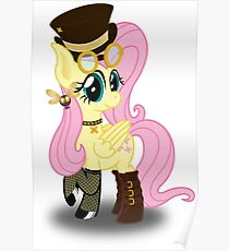 Steampunk Fluttershy (without background) Poster