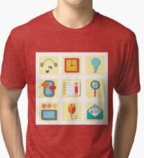 Set of flat icons for web appplication Tri-blend T-Shirt