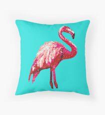 Sequin Printed Tropical Flamingo Bird Throw Pillow