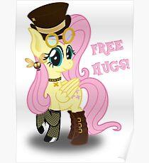 Steampunk Fluttershy - Free Hugs Poster