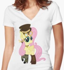 Steampunk Fluttershy (no shadow/background) Women's Fitted V-Neck T-Shirt